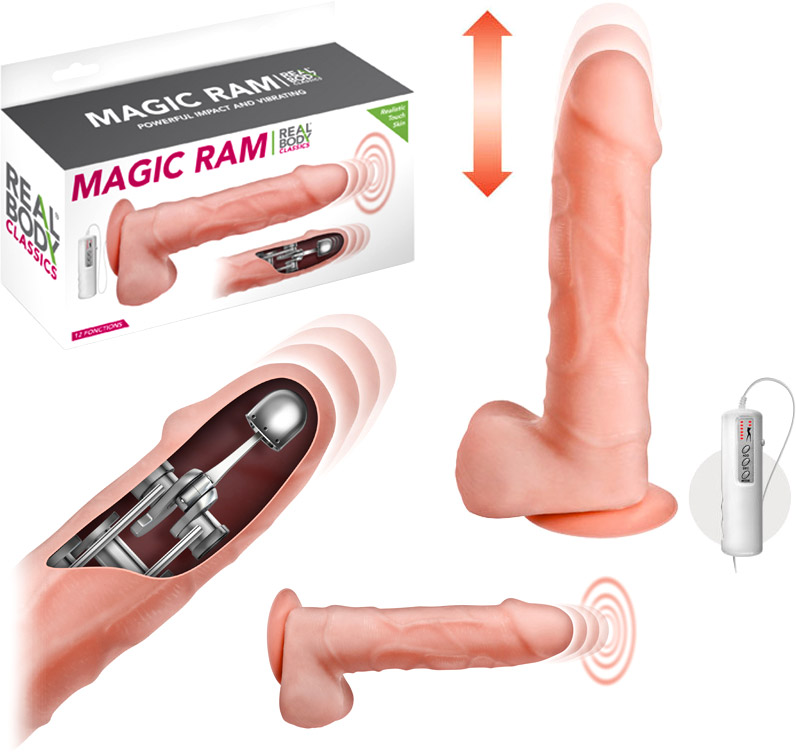 Vibromasseur réaliste Magic Ram (vibrations & pulsations) - 16 cm