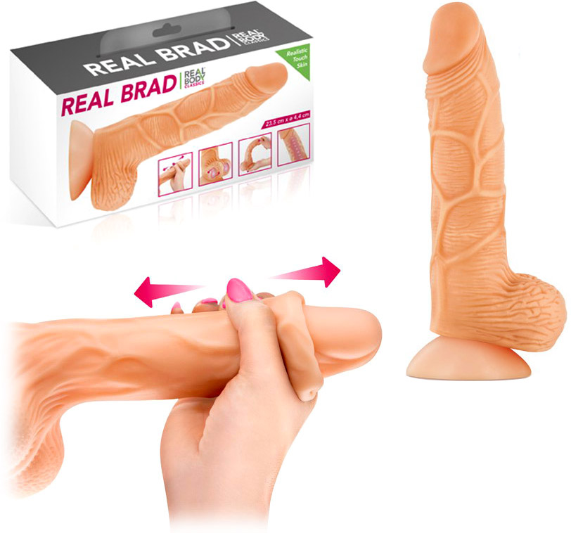 Real Brad realistic dildo with moveable foreskin - 15 cm