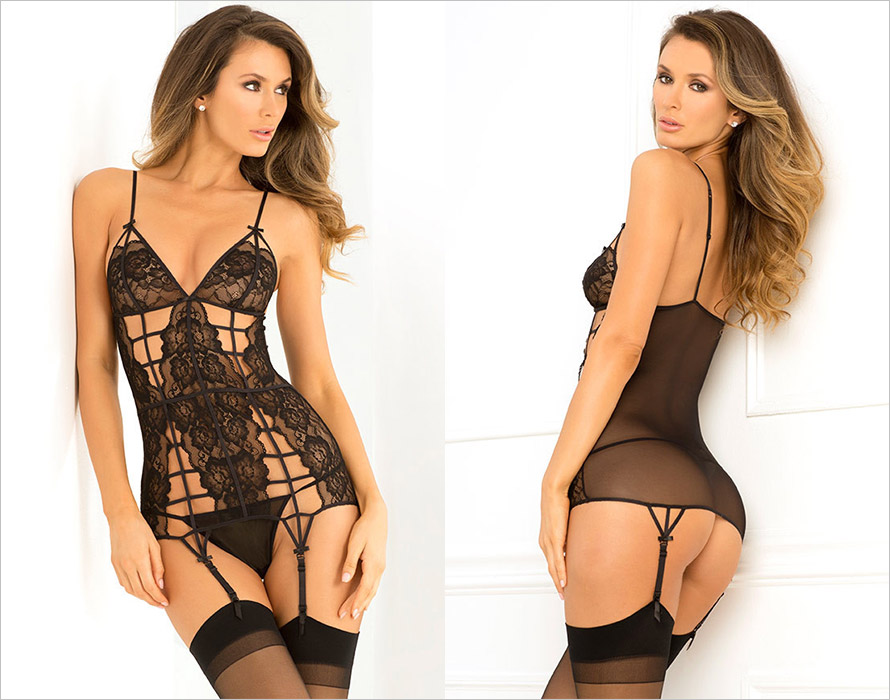 Ren� Rof� Caged Chemise & Thong - Black (M/L)