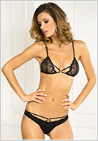 René Rofé Provocative Lace Bra & Panty - Black (S/M)