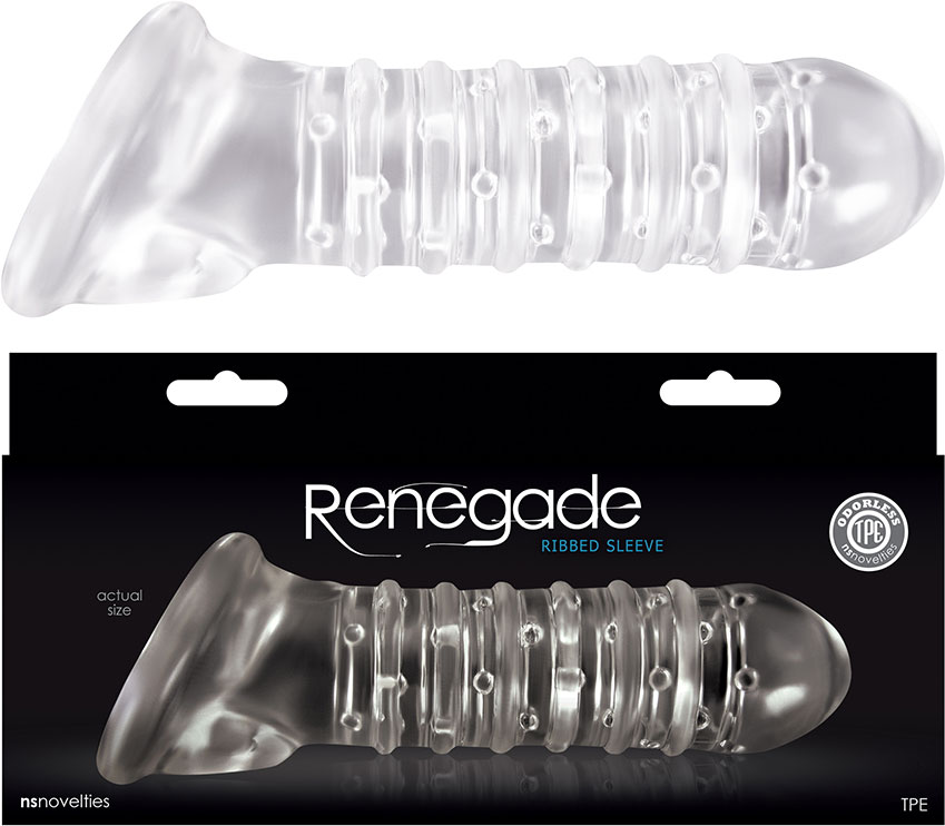 Renegade Ribbed Penis Sleeve - Clear