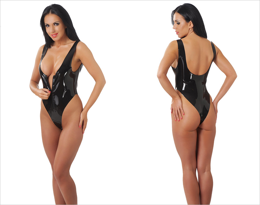Rimba latex body with zipper - Black (S)