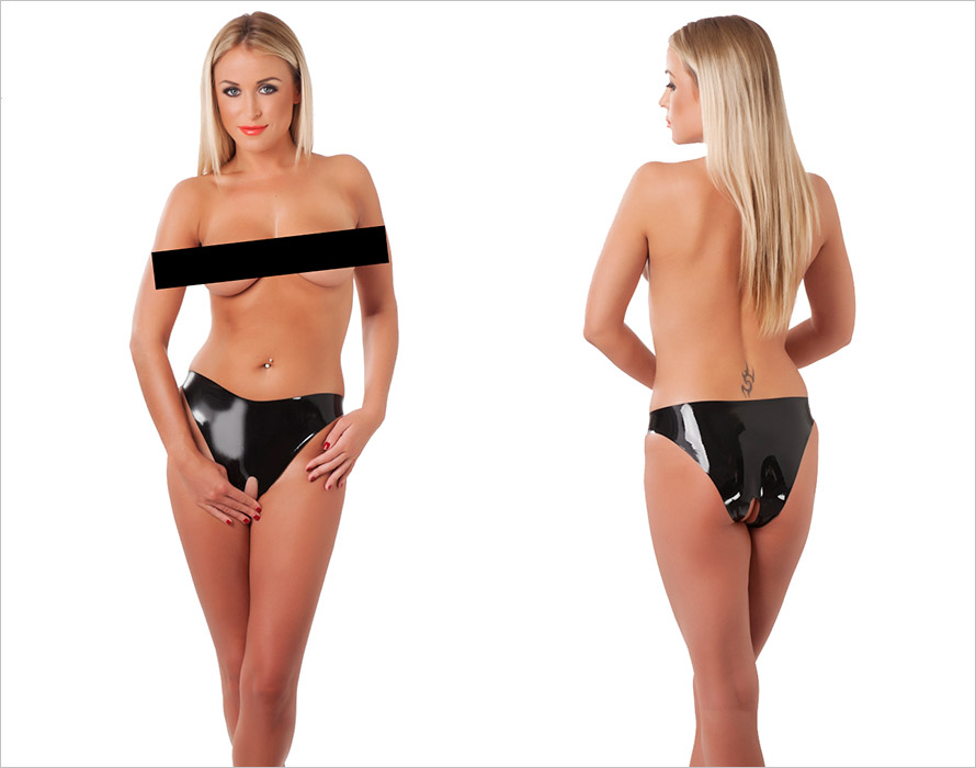 Rimba Open Crotch Latex Briefs - Black (L)