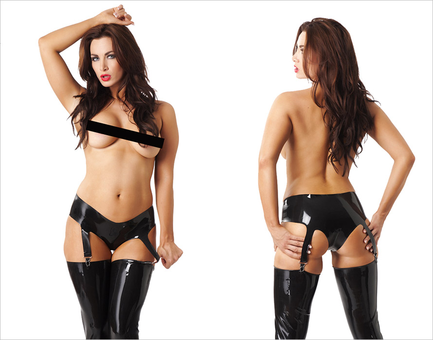 Rimba Latex Hipster with suspenders - Black (L)