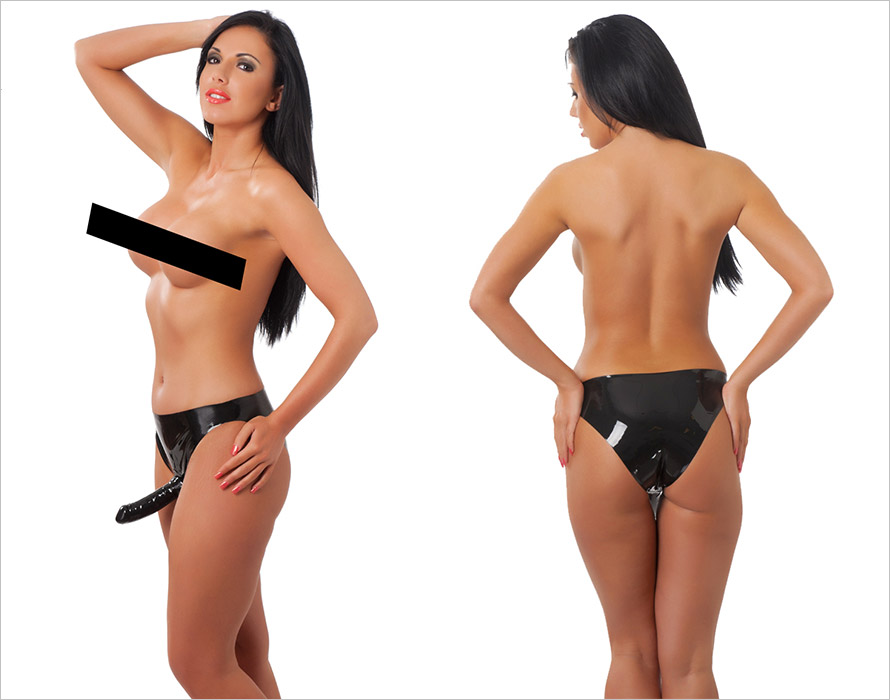 Rimba latex briefs with internal and external dildo - Black (S)