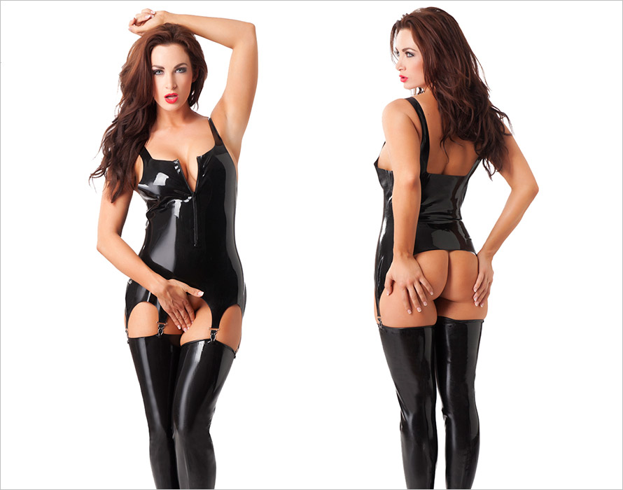 Rimba latex corset with zipper - Black (S)