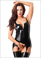 Rimba latex corset with zipper - Black (L)
