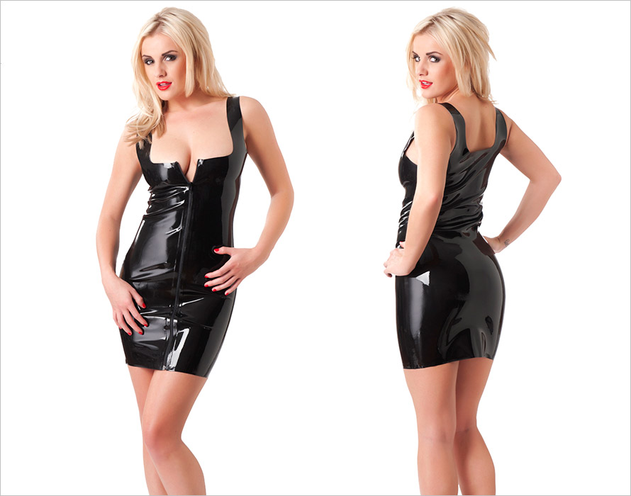 Rimba latex Mini Dress with zipper - Black (M)