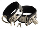 Rimba leather and metal ankle restraints with padlocks