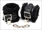Rimba leather and faux fur ankle restraints with padlocks