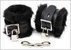 Rimba handcuffs in leather and faux fur with padlock