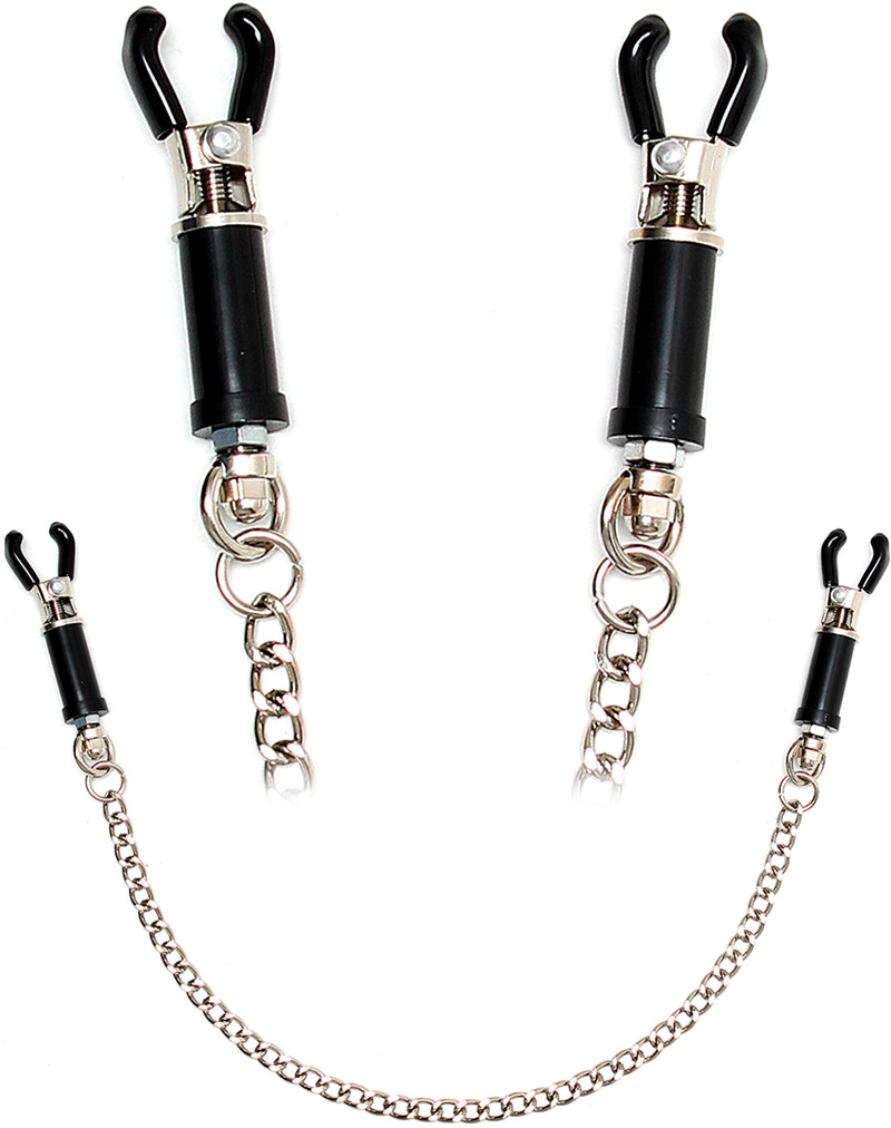 Rimba adjustable nipple clamps with chain - Black & silver