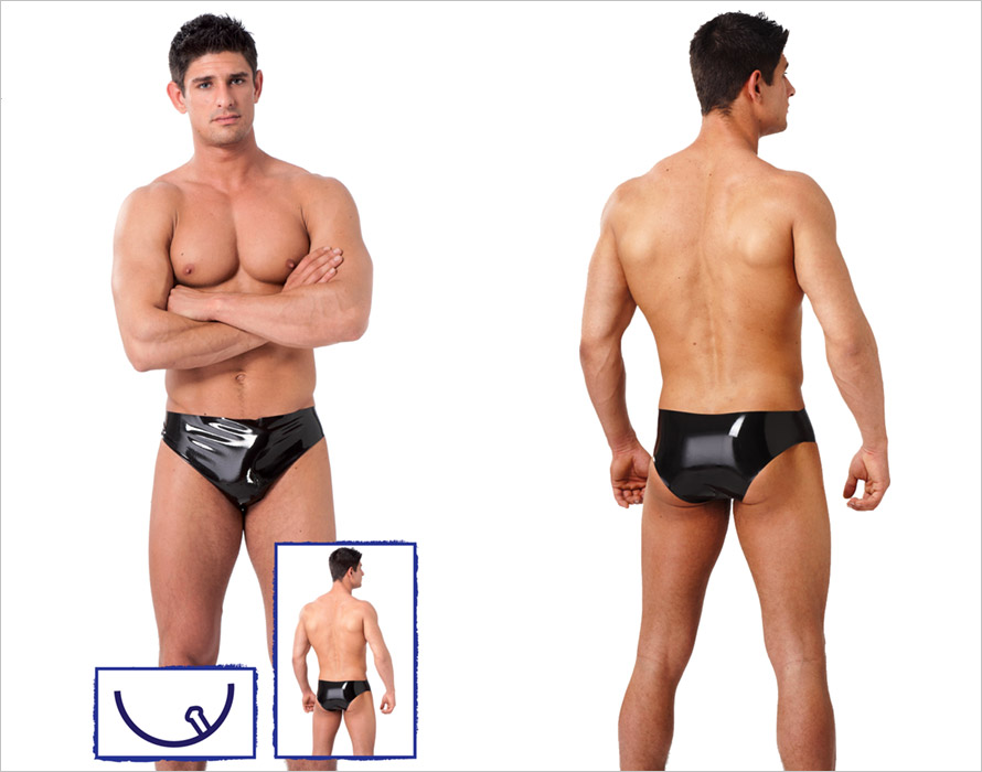 Rimba men's latex briefs with butt plug - Black (M)