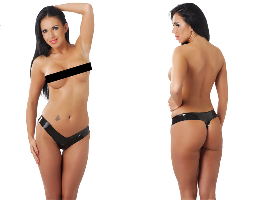 Rimba Latex Thong - Black (L)