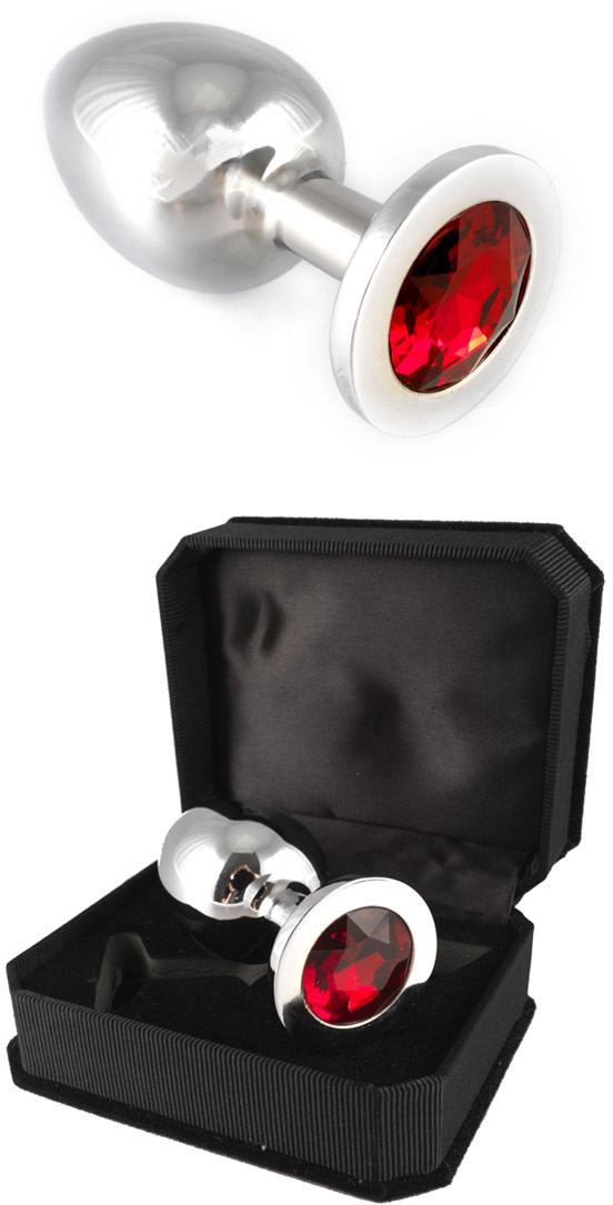 Stainless Steel Butt Plug with Crystal - Red (L)
