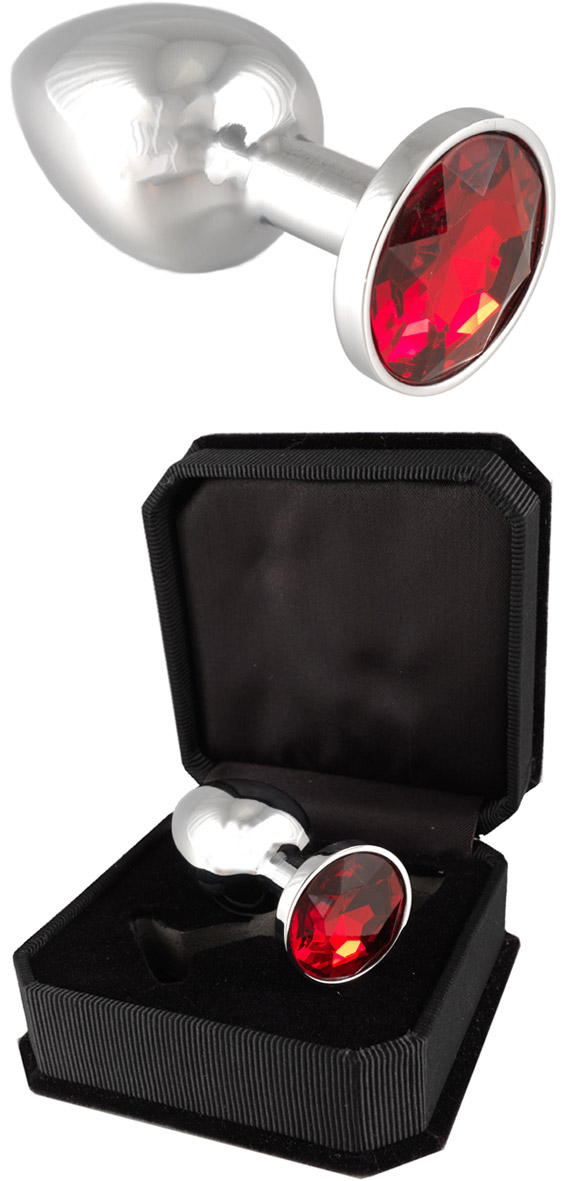 Stainless Steel Butt plug with Crystal - Red (S)
