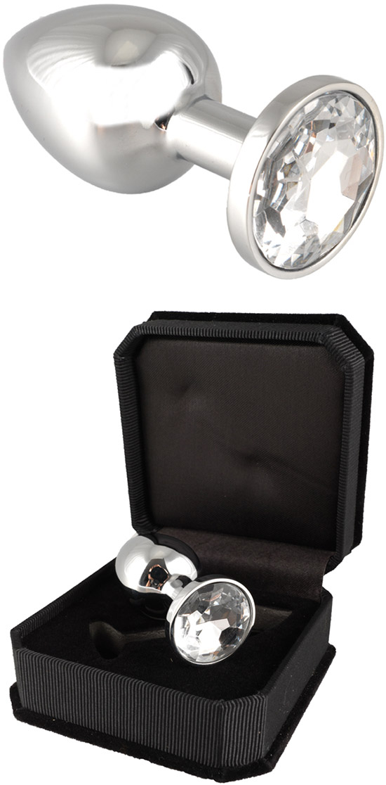 Stainless Steel Butt Plug with Crystal - Transparent (S)