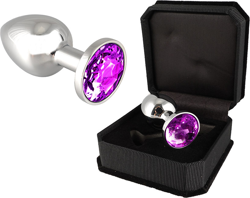 Stainless Steel Butt plug with Crystal - Purple (S)