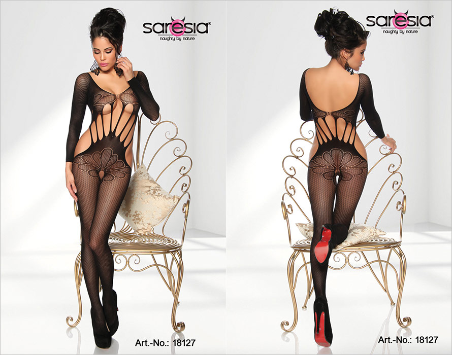 Saresia Bodystocking Seductive Flower - Noir (S/L)