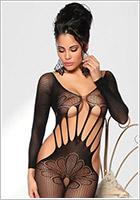 Saresia Bodystocking Seductive Flower - Schwarz (S/L)