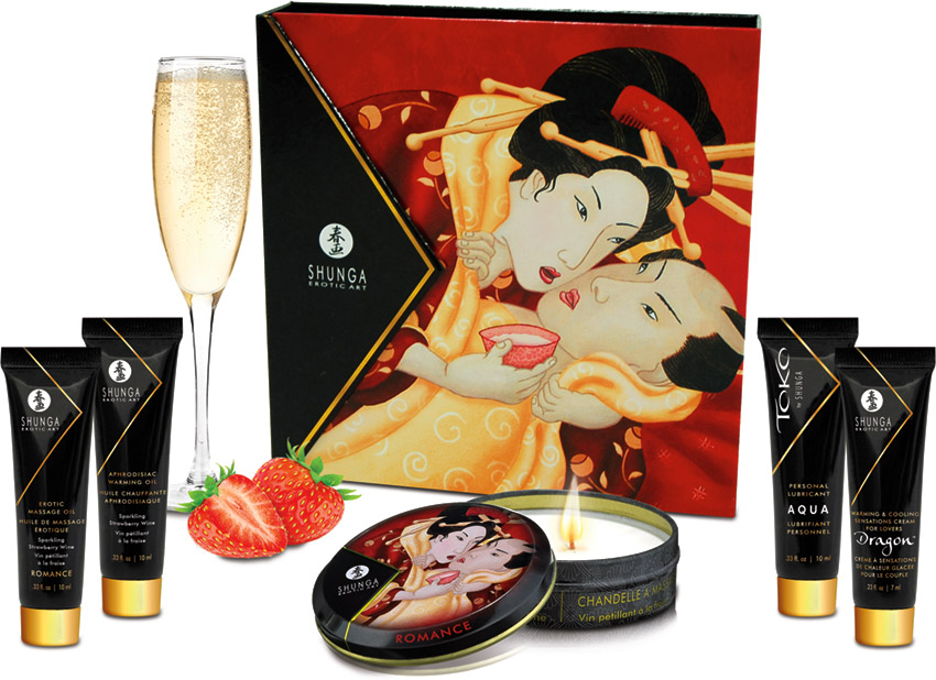 Shunga Geisha's Secrets gift set - Sparkling strawberry wine