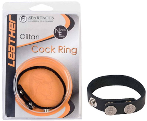 Spartacus Oiltan Leather Cock Ring - Nickel Free