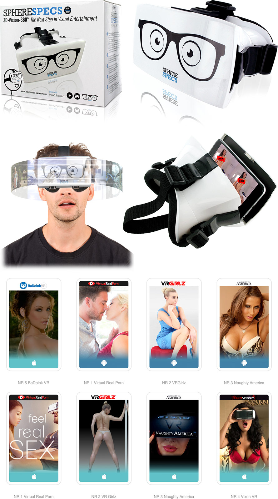 SphereSpecs 3D Virtual Reality Headset for Smartphones