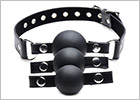 Strict ball gag with 3 interchangeable balls - Black