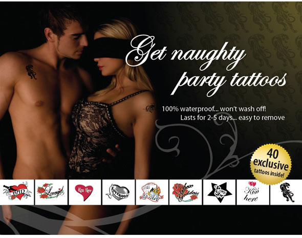 "Adult Body Art ""Get Naughty Party"" - Tattoo Set"