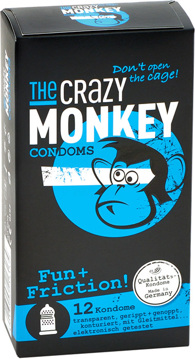 The Crazy Monkey stimulating condom - Fun+Friction (12 Condoms)