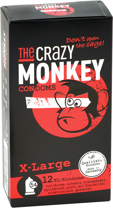 The Crazy Monkey large sized condoms - X-Large (12 Condoms)