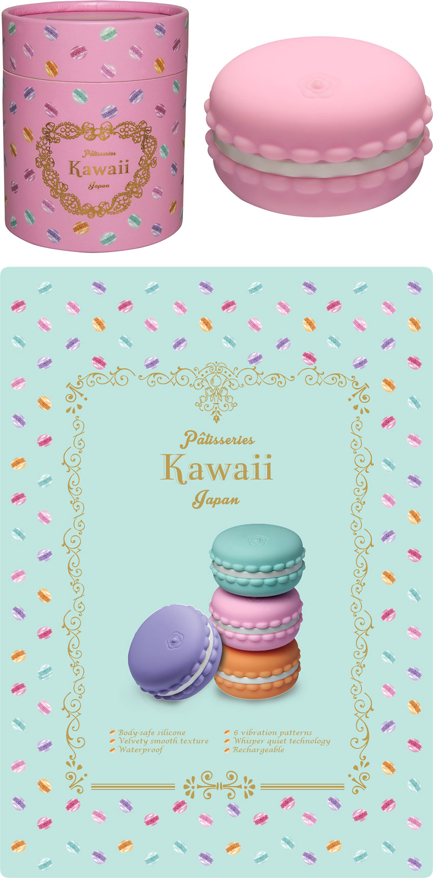 Mini-vibromasseur Kawaii Macaroon - Rose