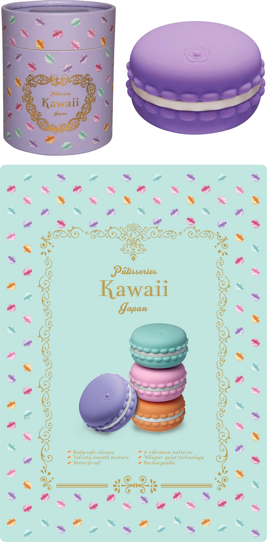 Kawaii Macaroon Mini-Vibrator - Purple