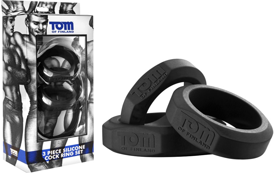 Tom of Finland Set of 3 silicone penis-rings - Black