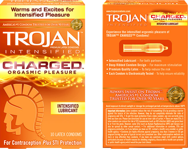 Trojan Charged Orgasmic Pleasure Kondom (10 Kondome)
