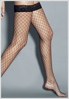 Veneziana AR Rete Grandi Hold-Up Fishnet Stockings - Black (S/M)