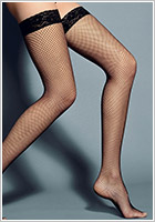 Veneziana AR Rete Lurex Hold-Up Fishnet Stockings - Black (S/M)