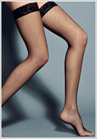 Veneziana AR Rete Hold-Up Fishnet Stockings - Black (S/M)