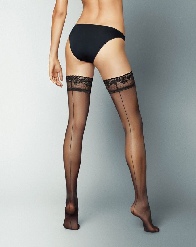 Veneziana Riga Dietro Hold-Up Stockings - Black (S/M)