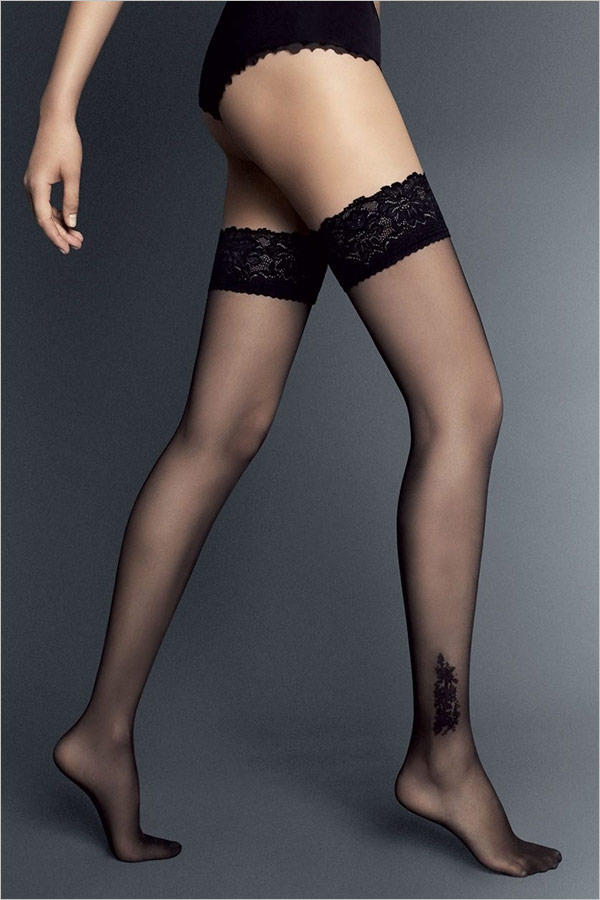 Veneziana Doris Hold-Up Stockings - Black (S/M)