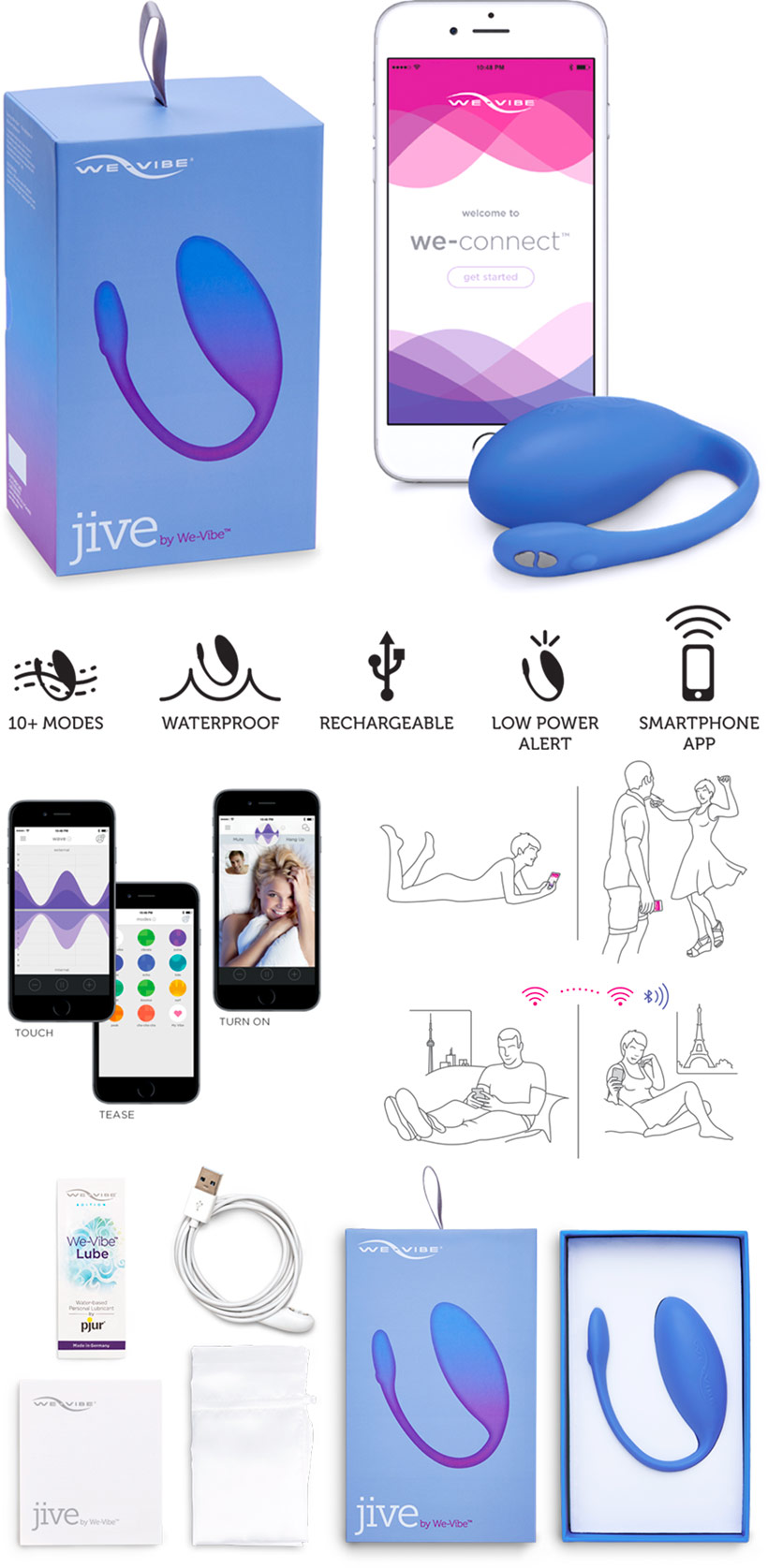 Oeuf vibrant We-Vibe Jive (iOS/Android) - Bleu