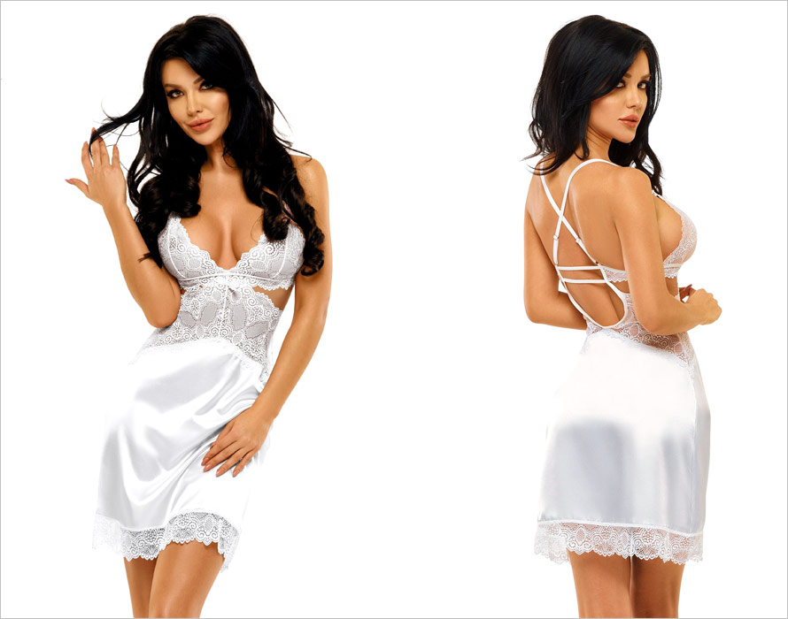 Beauty Night Adelaide Chemise & Thong - White (L/XL)