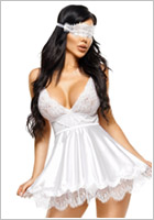Beauty Night Eve Chemise & Thong - White (L/XL)