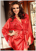 Beauty Night Prilance Dressing Gown & Thong - Red (S/L)