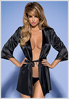 Obsessive Satinia Dressing Gown & Thong - Black (S/M)