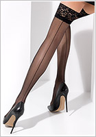 Passion ST022 hold-up stockings - Black (L/XL)