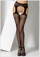 Passion S005 Stockings and suspenders - Black (XS/L)