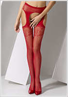 Passion S005 Stockings and suspenders - Red (XS/L)
