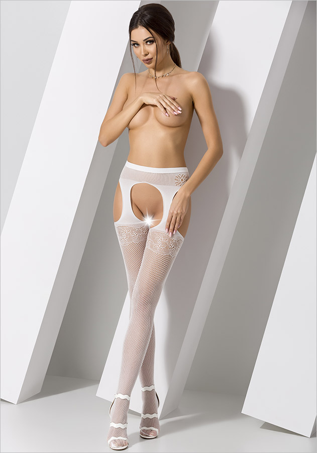 Passion S005 Stockings and suspenders - White (XS/L)
