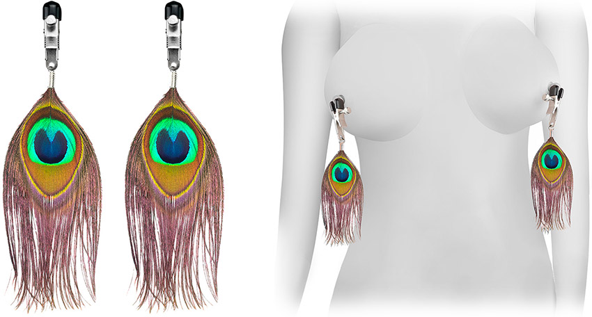 Rimba nipple clamps with peacock feathers